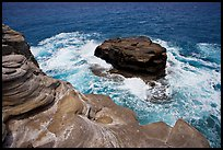 Layered rocks, Portlock. Oahu island, Hawaii, USA
