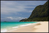 Waimanalo Beach and pali. Oahu island, Hawaii, USA