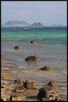 Rocks and turquoise waters near Makai research pier. Oahu island, Hawaii, USA (color)