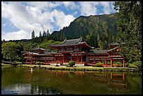 Byodo-In temple and Koolau Mountains, morning. Oahu island, Hawaii, USA