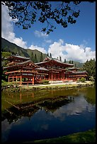 Byodo-In temple reflected in pond, Valley of the Temples, morning. Oahu island, Hawaii, USA