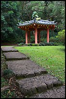 Fishing Hut Pavilion, Byodo-In temple. Oahu island, Hawaii, USA