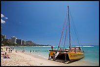 Catamaran and Waikiki Beach. Waikiki, Honolulu, Oahu island, Hawaii, USA ( color)