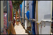 Racks of surfboards. Waikiki, Honolulu, Oahu island, Hawaii, USA ( color)