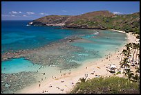 Hanauma Bay and beach with people. Oahu island, Hawaii, USA