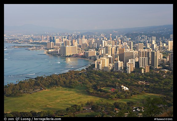 Honolulu seen from the Diamond Head crater, early morning. Honolulu, Oahu island, Hawaii, USA (color)