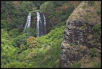 Opaekaa Falls and cliff. Kauai island, Hawaii, USA ( color)