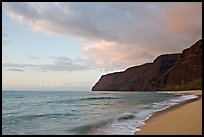 Polihale Beach and Na Pali coast,  sunset. Kauai island, Hawaii, USA (color)