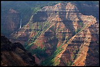 Waimea Canyon and waterfall, afternoon. Kauai island, Hawaii, USA (color)