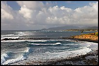 Coastline north of Kapaa with Sleeping Giant profile, early morning. Kauai island, Hawaii, USA