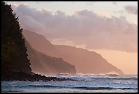 Na Pali Coast seen from Kee Beach, sunset. Kauai island, Hawaii, USA ( color)