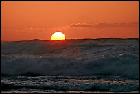 Big waves and sunset, Kee Beach. North shore, Kauai island, Hawaii, USA