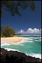 Beach, volcanic rock, and turquoise waters, and homes  near Haena. North shore, Kauai island, Hawaii, USA