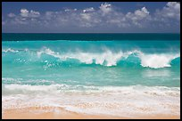 Breaking wave and turquoise waters, Haena Beach Park. North shore, Kauai island, Hawaii, USA