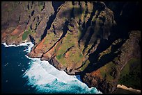 Aerial view of fluted mountains and surf, Na Pali Coast. Kauai island, Hawaii, USA ( color)