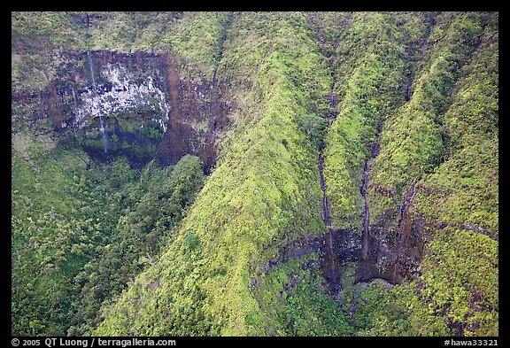 Aerial view of a crater on the slopes of Mt Waialeale. Kauai island, Hawaii, USA