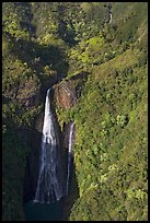 Aerial view of the Manawaiopuna falls (nicknamed Jurassic falls since featured in the movie). Kauai island, Hawaii, USA