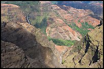 Waipoo falls and Waimea Canyon, afternoon. Kauai island, Hawaii, USA (color)