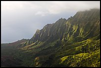 Kalalau Valley and clouds, late afternoon. Kauai island, Hawaii, USA ( color)
