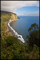 Waipio Beach from overlook, early morning. Big Island, Hawaii, USA