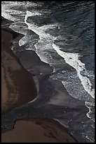 Surf and black sand beach from above, Waipio Valley. Big Island, Hawaii, USA