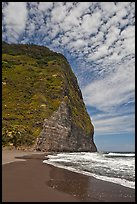 Black sand beach and cliff, Waipio Valley. Big Island, Hawaii, USA