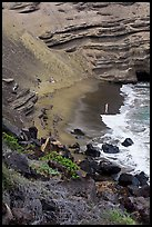 Beachgoers and green sand beach near South Point. Big Island, Hawaii, USA ( color)
