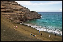 People on Mahana (green sand) Beach. Big Island, Hawaii, USA ( color)