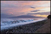 Lanai Island and crashing surf at sunset. Lahaina, Maui, Hawaii, USA (color)