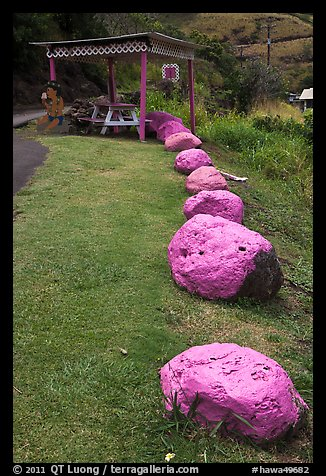 Rocks painted pink, Kahakuloa. Maui, Hawaii, USA