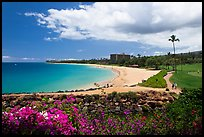 Beach and golf course, Kaanapali. Lahaina, Maui, Hawaii, USA (color)