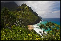 Hanakapiai Beach and cliffs from above. Kauai island, Hawaii, USA ( color)