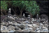 Rock piles on Hanakapiai Beach. Kauai island, Hawaii, USA ( color)