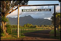 Princeville Ranch gate. Kauai island, Hawaii, USA (color)