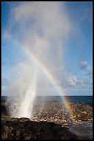 Spouting Horn with rainbow in spray. Kauai island, Hawaii, USA (color)