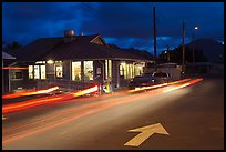 Restaurant and street by night, Lihue. Kauai island, Hawaii, USA ( color)