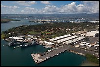 Aerial view of Hickam AFB and Pearl Harbor. Oahu island, Hawaii, USA ( color)
