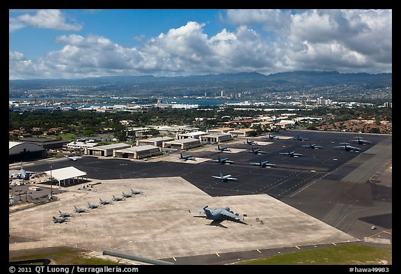 Aerial view of Hickam Air Force Base. Honolulu, Oahu island, Hawaii, USA (color)