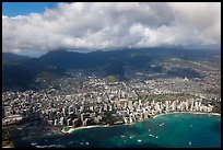 Honolulu from the air. Honolulu, Oahu island, Hawaii, USA