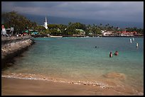Beach, seawall and town, Kailua-Kona. Hawaii, USA ( color)
