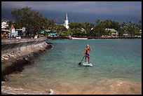 Paddlesurfer and Kailua-Kona. Hawaii, USA ( color)