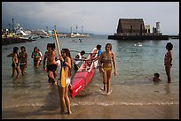 Girls and outrigger canoe, Kailua-Kona. Hawaii, USA ( color)