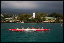 Outrigger canoe and Mokuaikaua church, Kailua-Kona. Hawaii, USA ( color)
