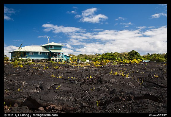 House and recently hardened lava. Big Island, Hawaii, USA (color)