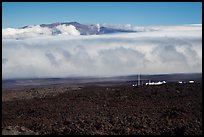 Mauna Loa Observatory, clouds, and Mauna Kea. Big Island, Hawaii, USA ( color)