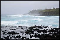 Seascape with strong surf and surfer, Pohoiki. Big Island, Hawaii, USA ( color)