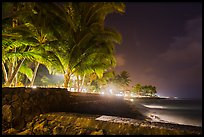 Waterfront at night, Kailua-Kona. Hawaii, USA ( color)