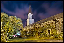 Mokuaikaua church at night, Kailua-Kona. Hawaii, USA ( color)