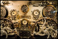 Depth gauges and controls, USS Bowfin submarine, Pearl Harbor. Oahu island, Hawaii, USA ( color)