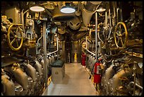 Submarine machine room, USS Bowfin, World War 2 Valor in the Pacific National Monument. Oahu island, Hawaii, USA ( color)